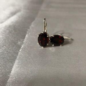Jewelry - Sterling Garnet Leverback Earrings